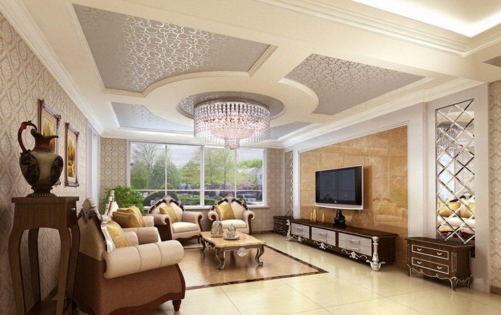 Mẫu trần thạch cao phòng khách đẹp 7